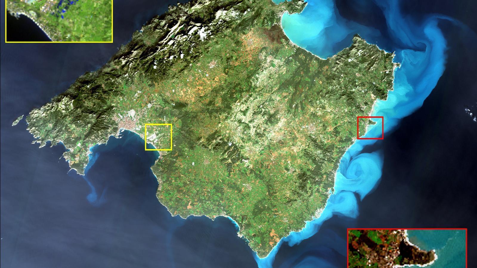 Imatge de Mallorca enregistrada pel satèl·lit Sentinel-2 el 23 de gener de 2020
