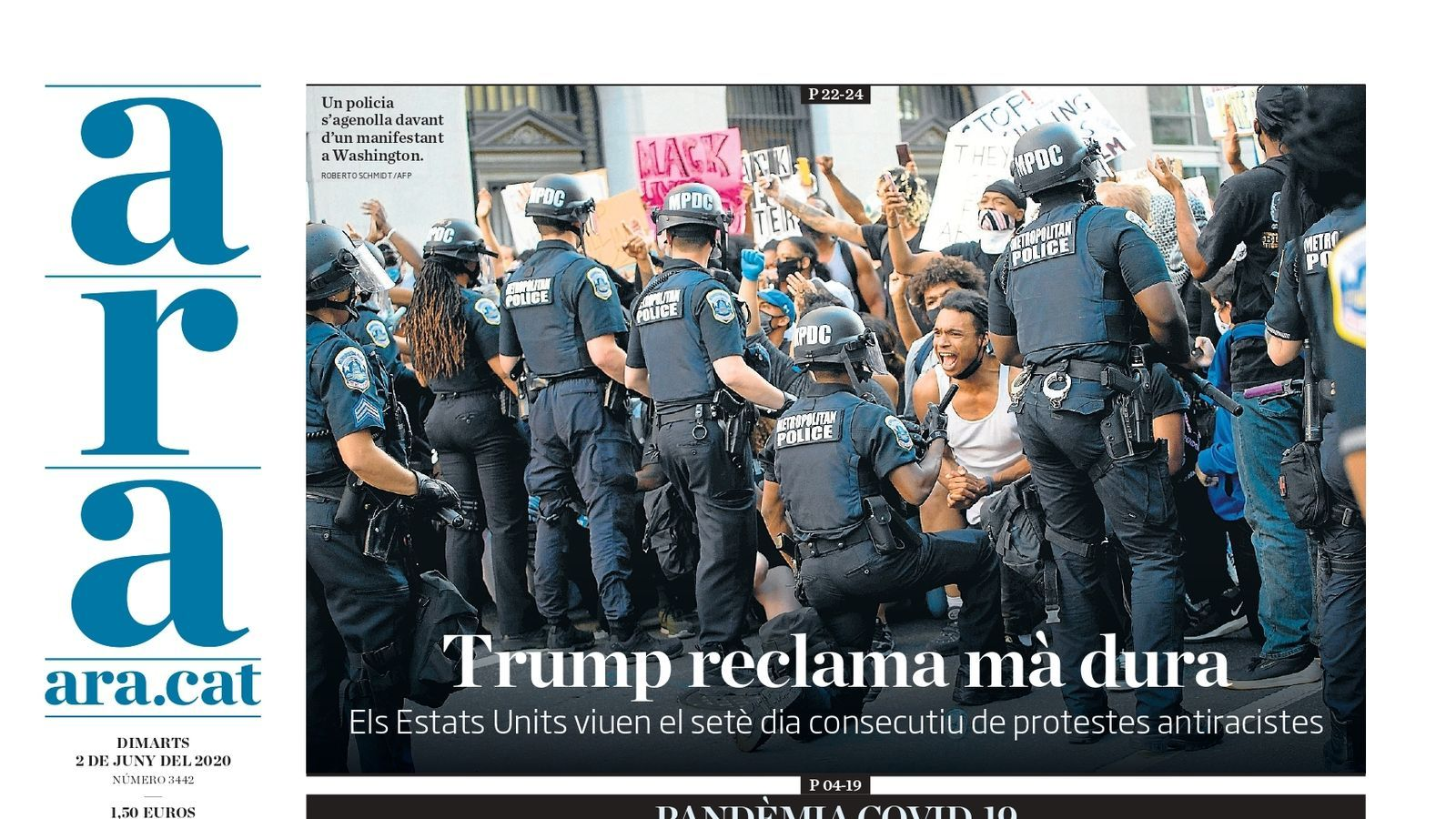 La portada del diari ARA del 2 de juny de 2020