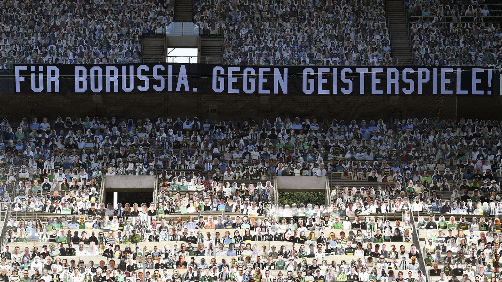 Una imatge de les graderies durant el partit entre el Borussia Mönchengladbach i el FC Union Berlín.