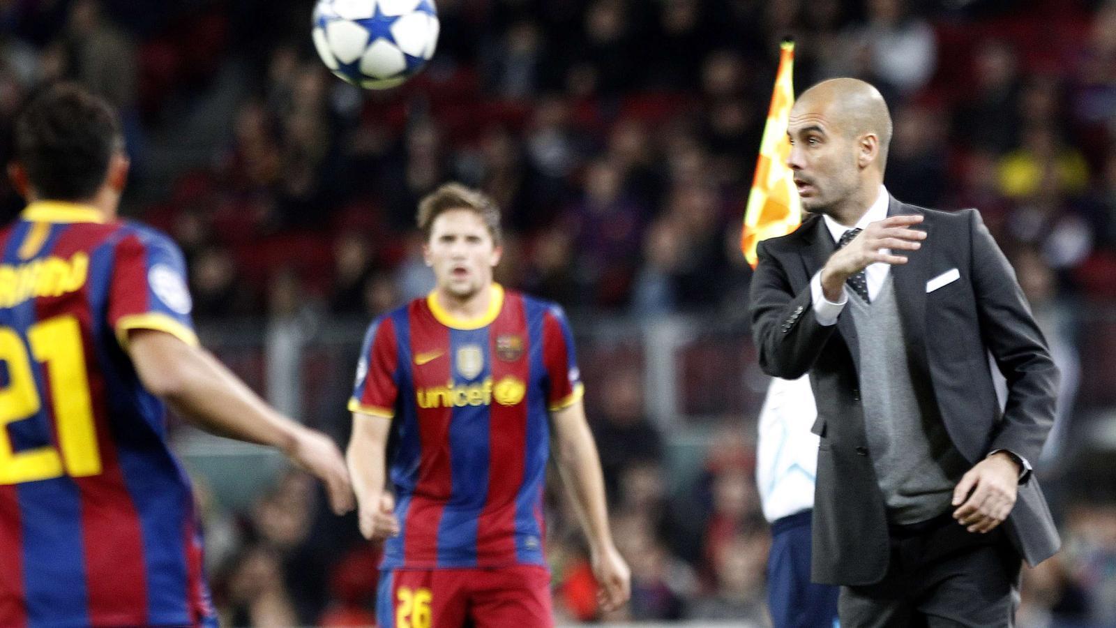 Guardiola, en un moment del Barça - Rubin Kazan (2-0)