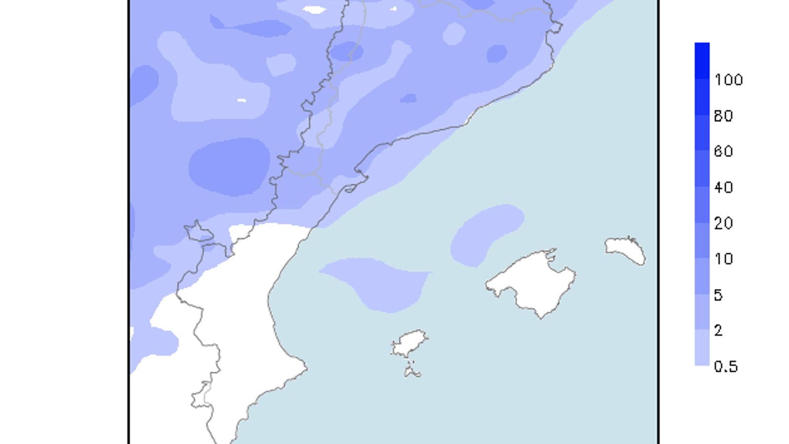 Acumulacions de precipitació previstes per a dijous a última hora