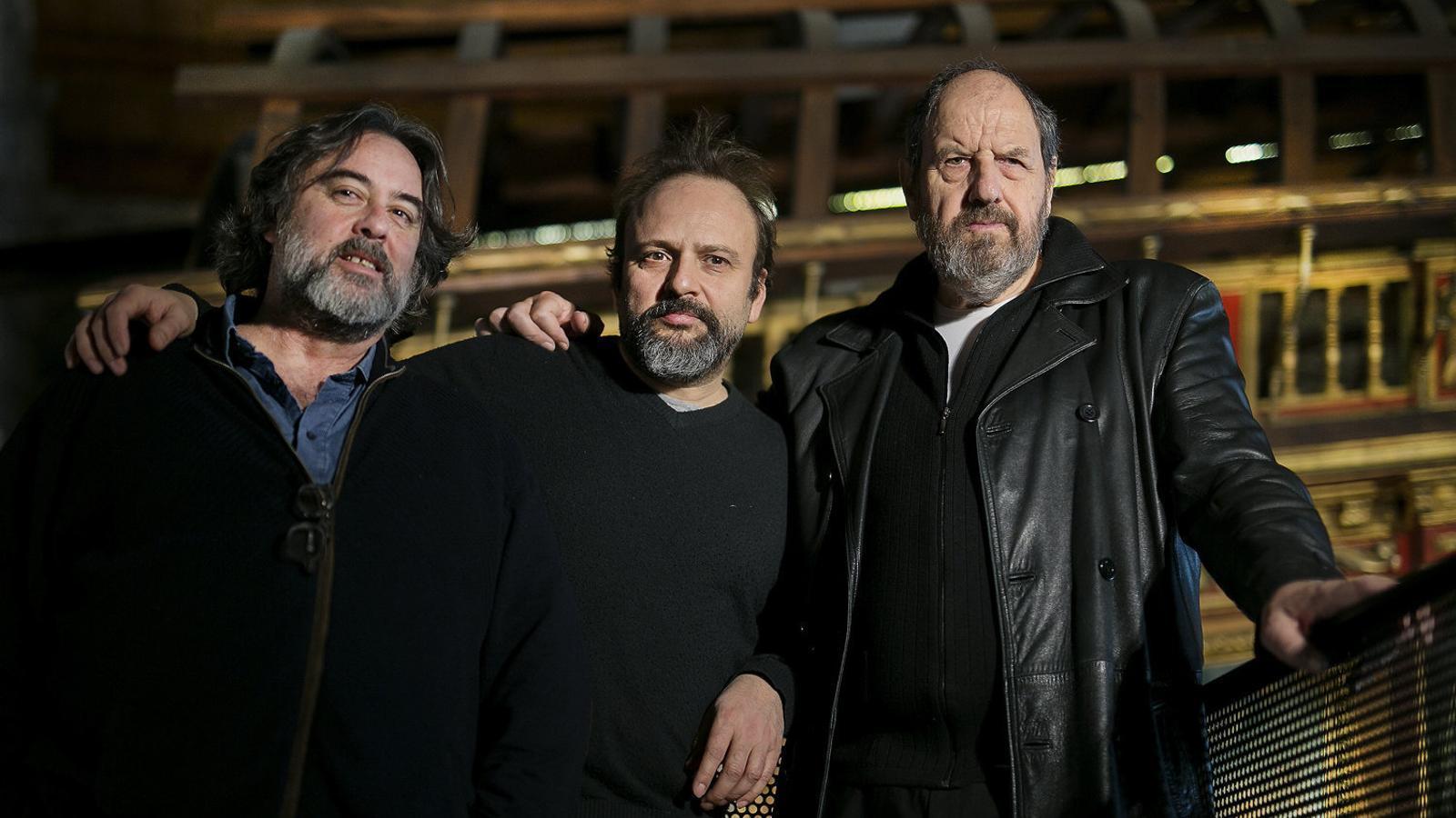 Els principals artífexs del Moby Dick del Goya: el director Andrés Lima, el dramaturg Juan Cavestany i el protagonista, Josep Maria Pou.