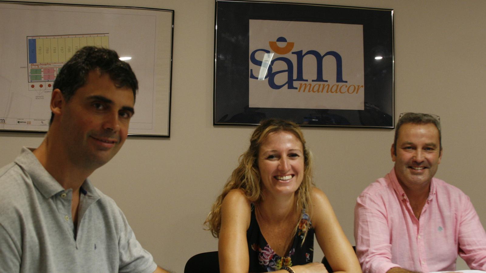 Francesc Grimalt, Maria A. Sansó i Joan Sagrera, durant la presentació dels projectes que aspiren a ser finançats amb l'ecotaxa.
