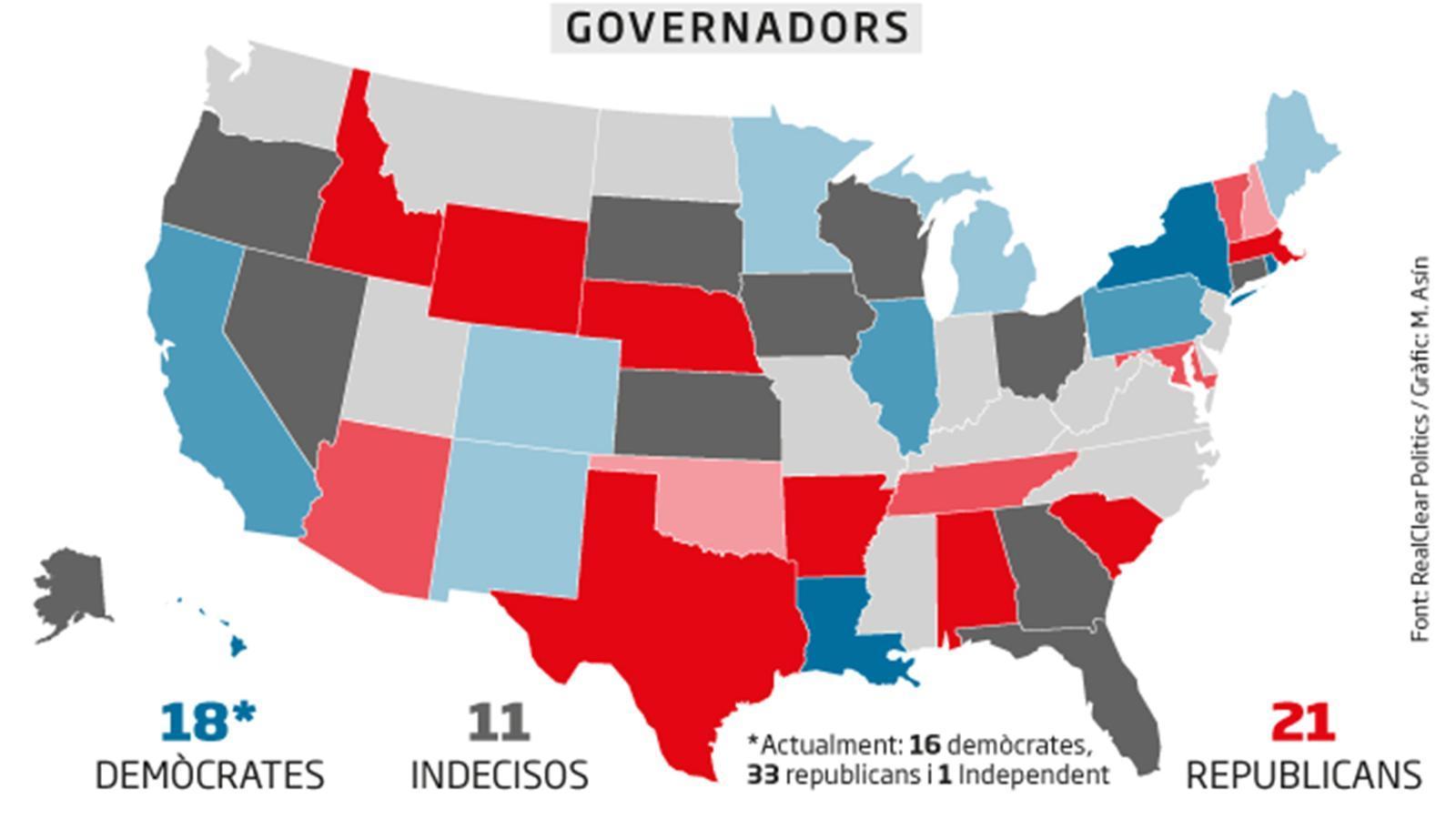 Enquestes a les eleccions a governadors segons RealClearPolitics / M. ASÍN