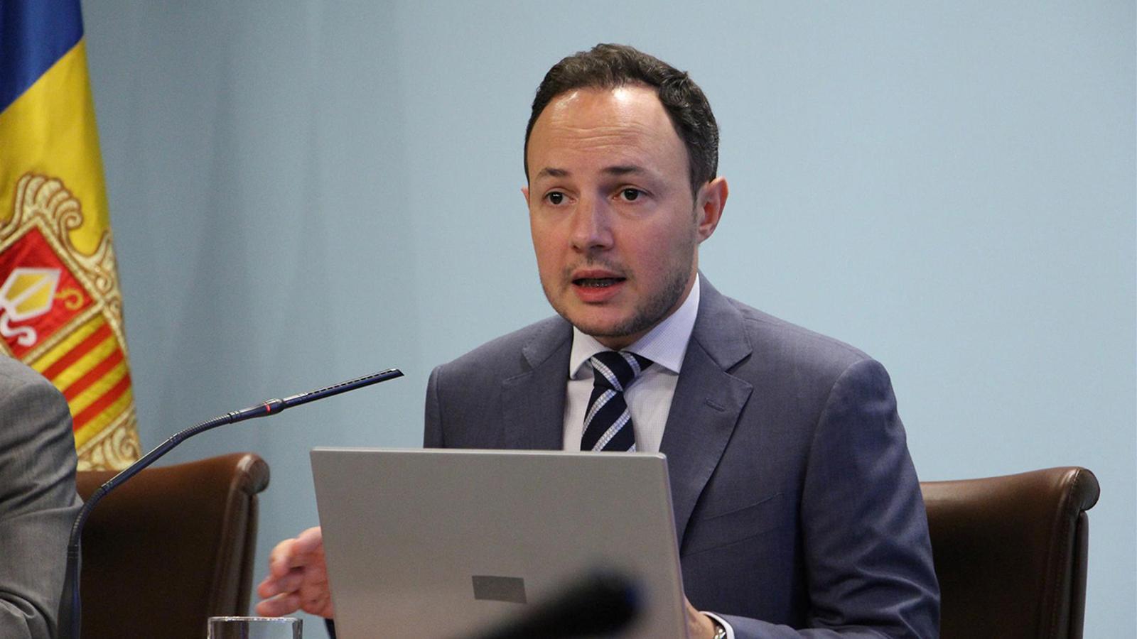 El ministre d'Afers Socials, Justícia i Interior, Xavier Espot, durant la presentació, aquest dimecres, del projecte de llei per a la igualtat de tracte i la no-discriminació./ M. M. (ANA)