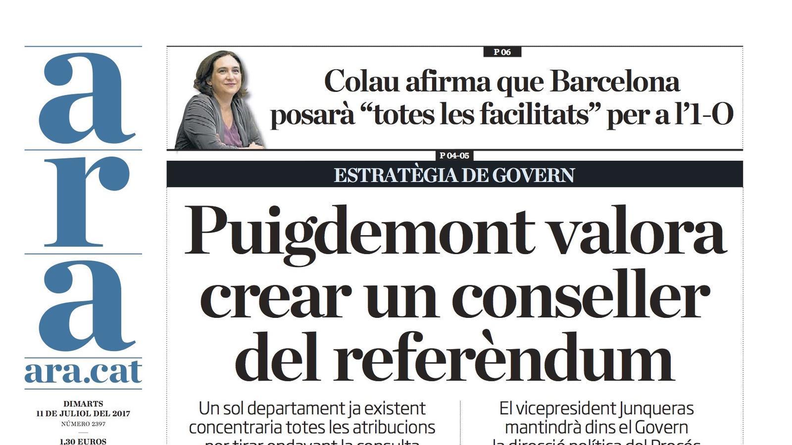 """""""Puigdemont valora crear un conseller del referèndum"""", portada de l'ARA"""
