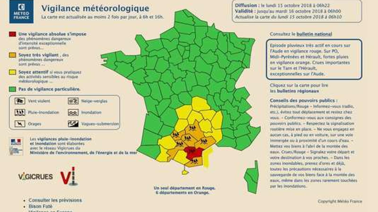 Mapa dels departaments en alerta per inundacions i tempestes.