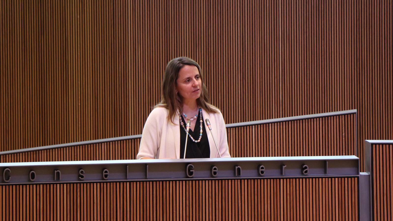 La consellera general del PS, Rosa Gili, durant la seva intervenció