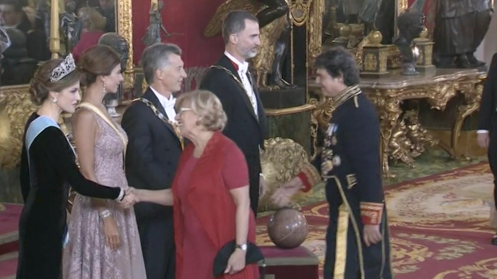 Moragas a la recepció dels reis amb el president argentí