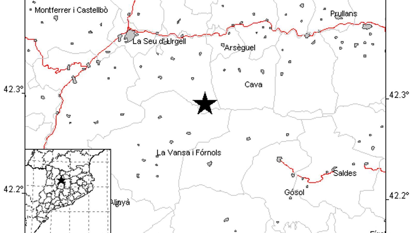 L'epicentre del terratrèmol percebut aquest diumenge a la tarda . / ICGC