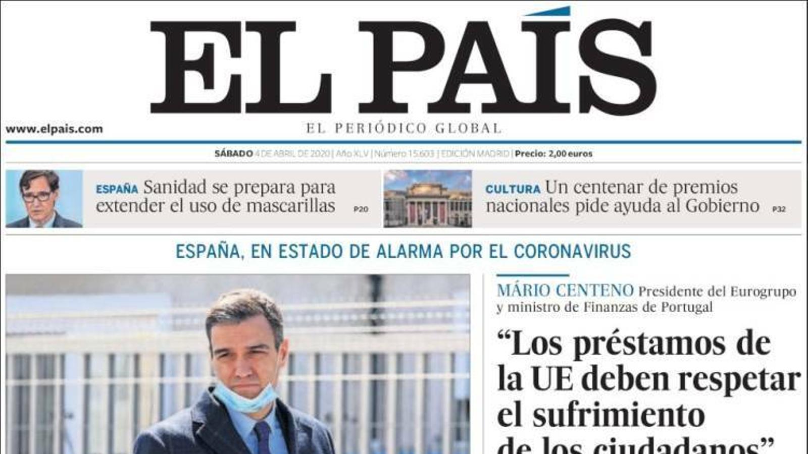 Portada d'El País, 4 d'abril del 2020