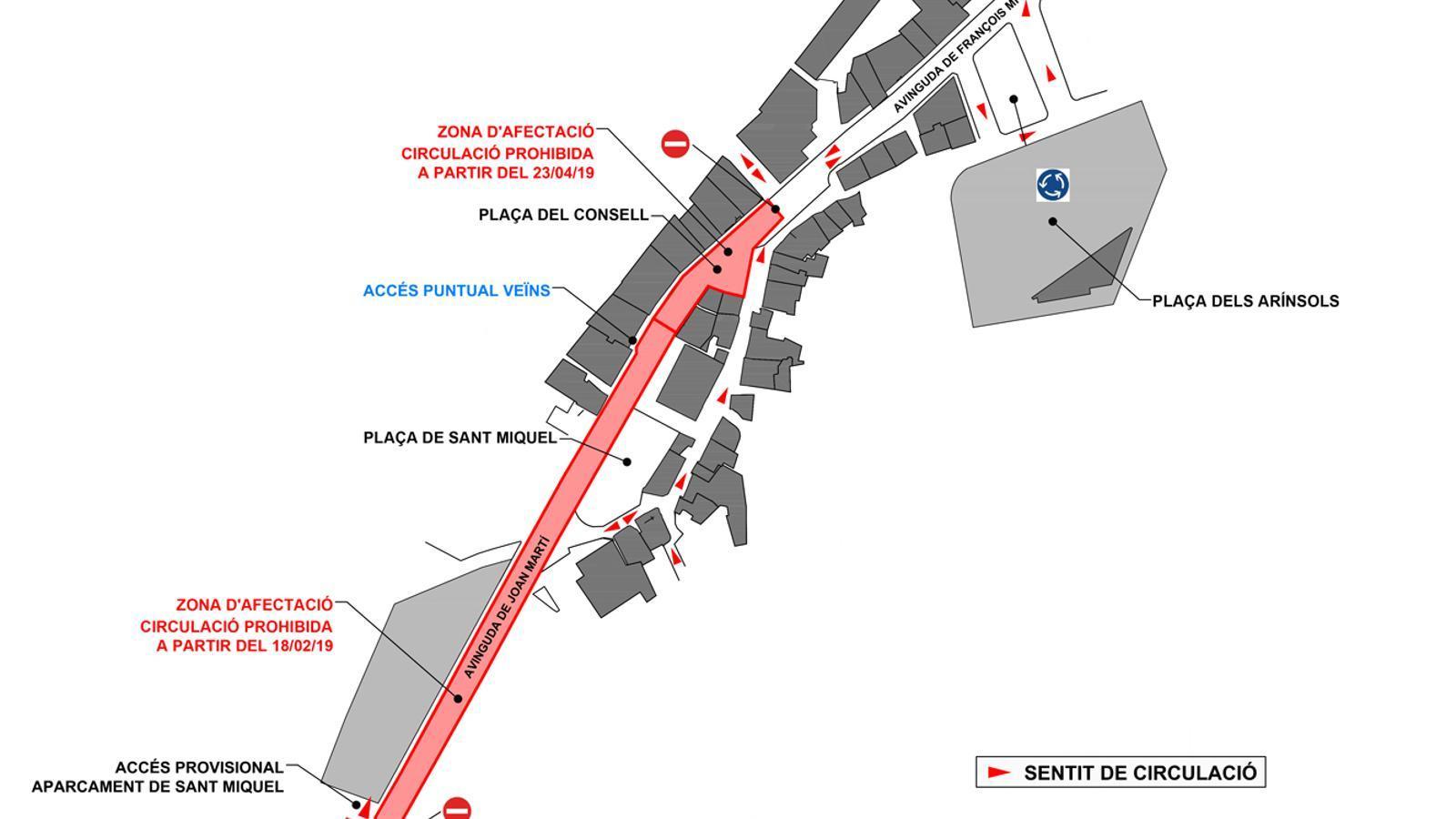 Mapa de les afectacions a les avingudes de Joan Martí i François Mitterrand. / COMÚ D'ENCAMP