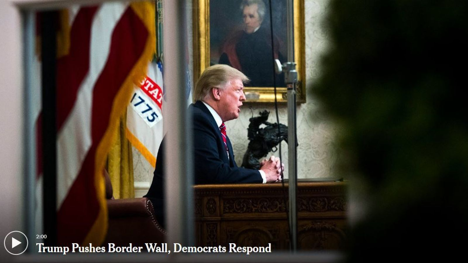 Discurs de Trump sobre el mur amb Mèxic des del Despatx Oval.