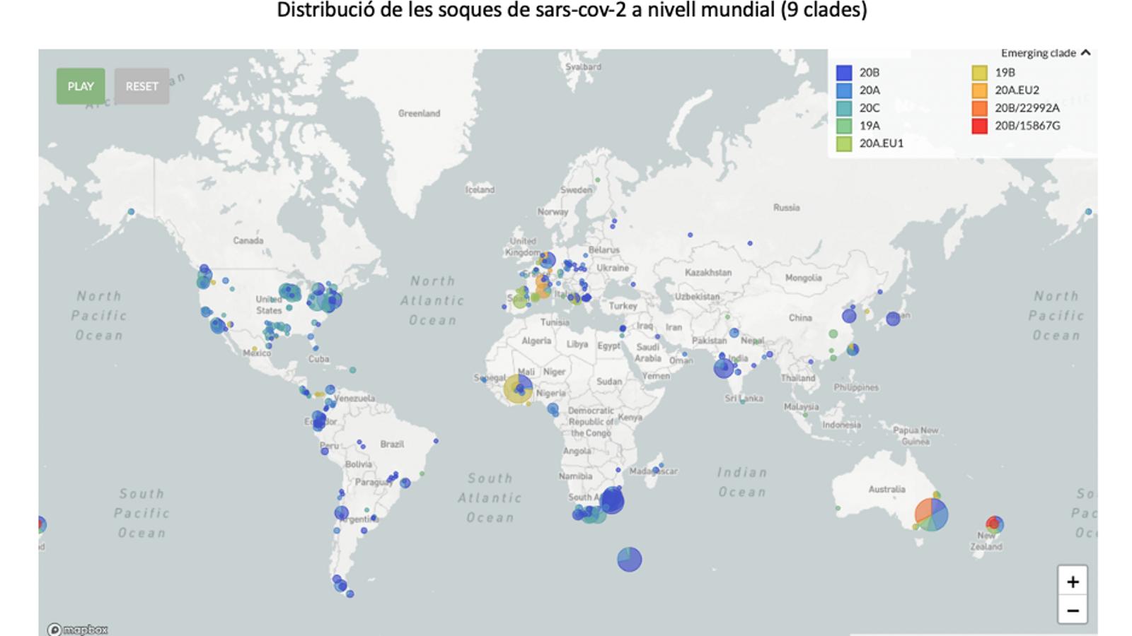 Distribució de les soques del Sars Cov-2 al món / Font: nextstrain.org