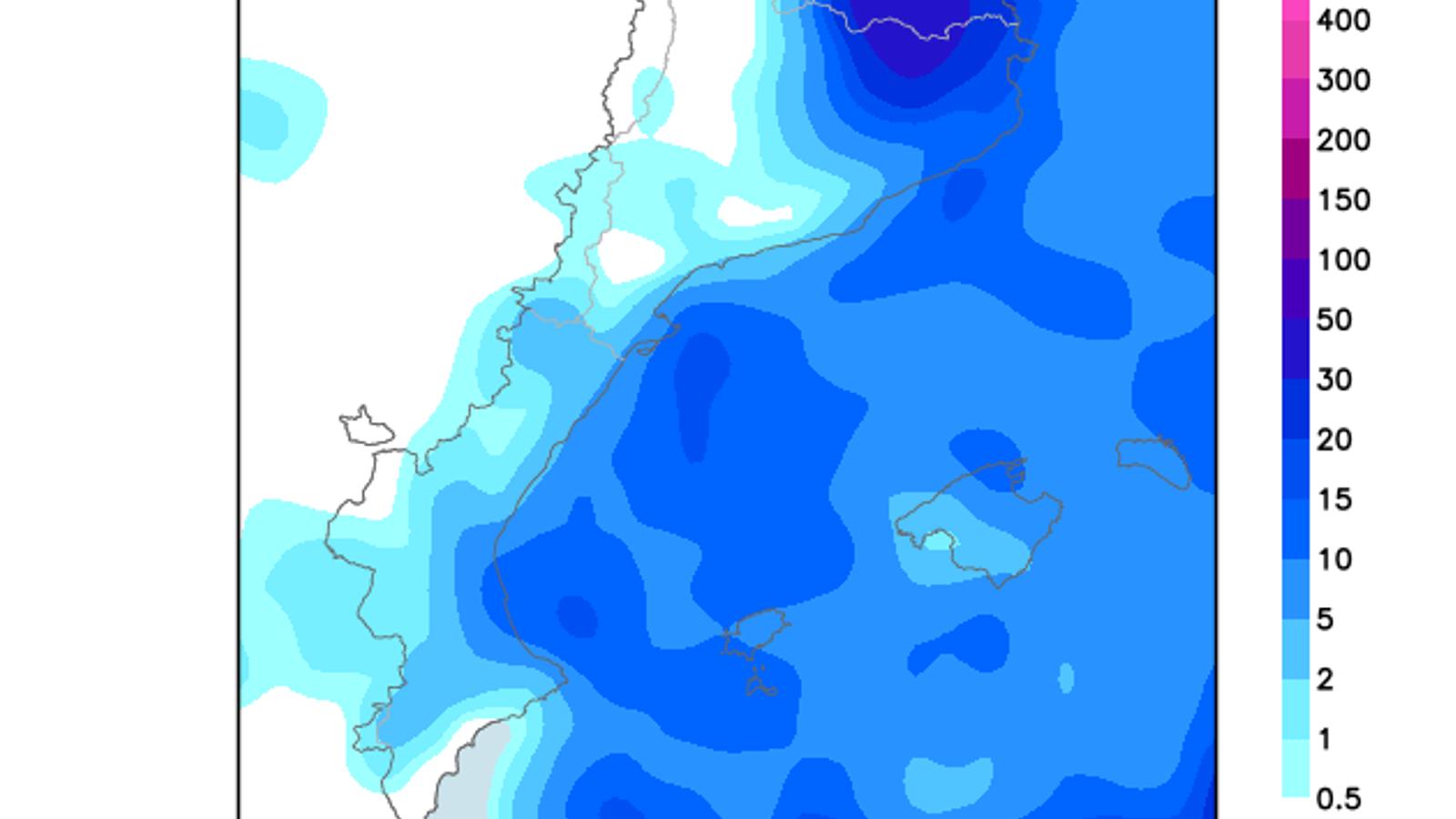 Acumulació de la pluja prevista per aquest dissabte