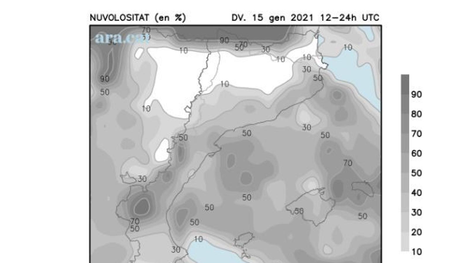 Temperatura sense canvis i probabilitat d'algun ruixat ocasional a les Illes