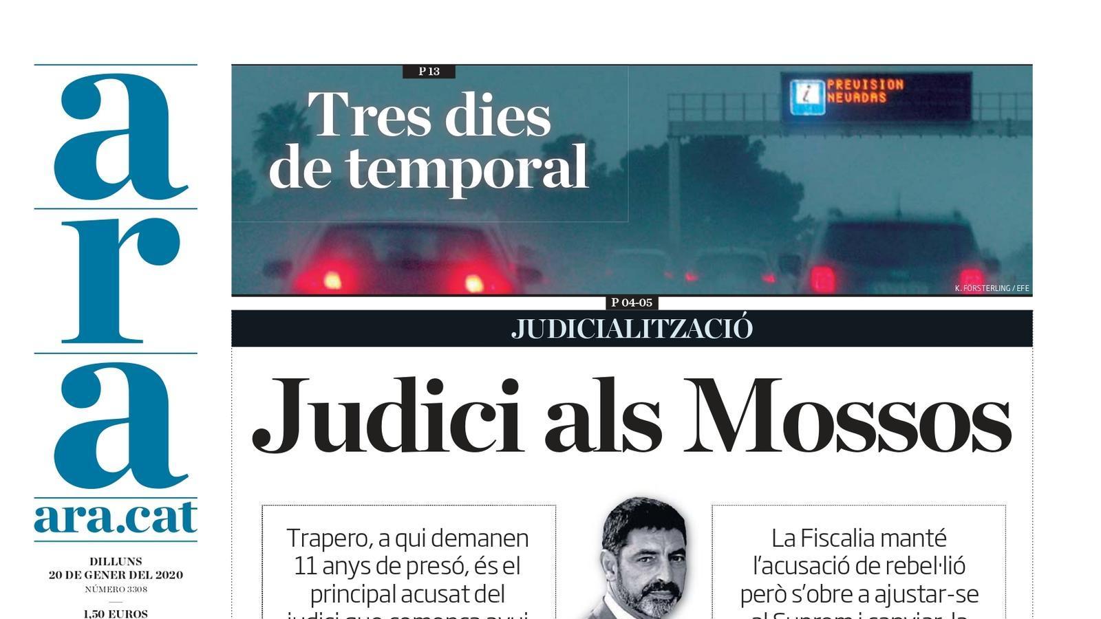 """""""Judici als Mossos"""", la portada de l'ARA"""