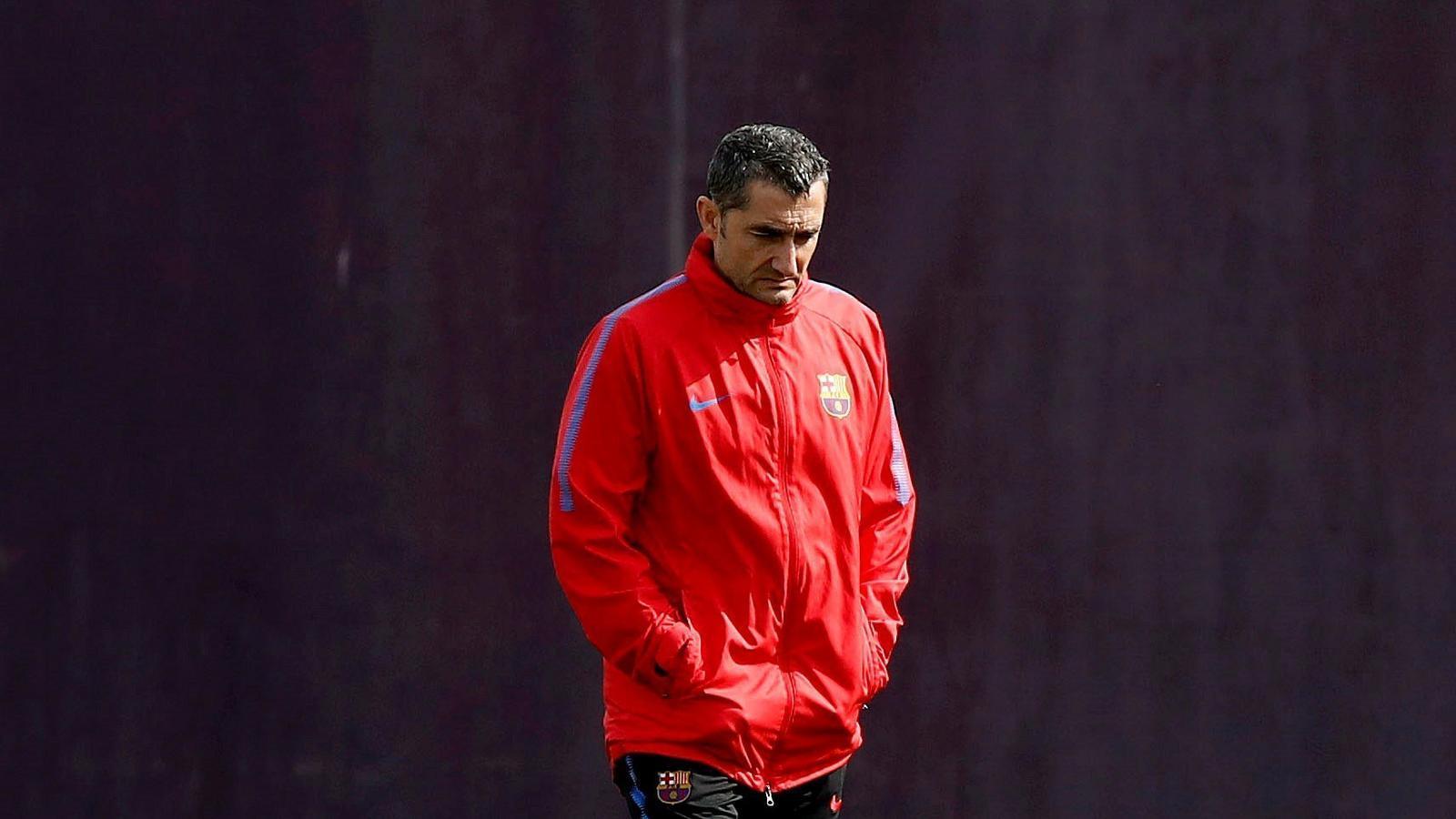 Ernesto Valverde en l'entrenament previ al Barça - Athletic