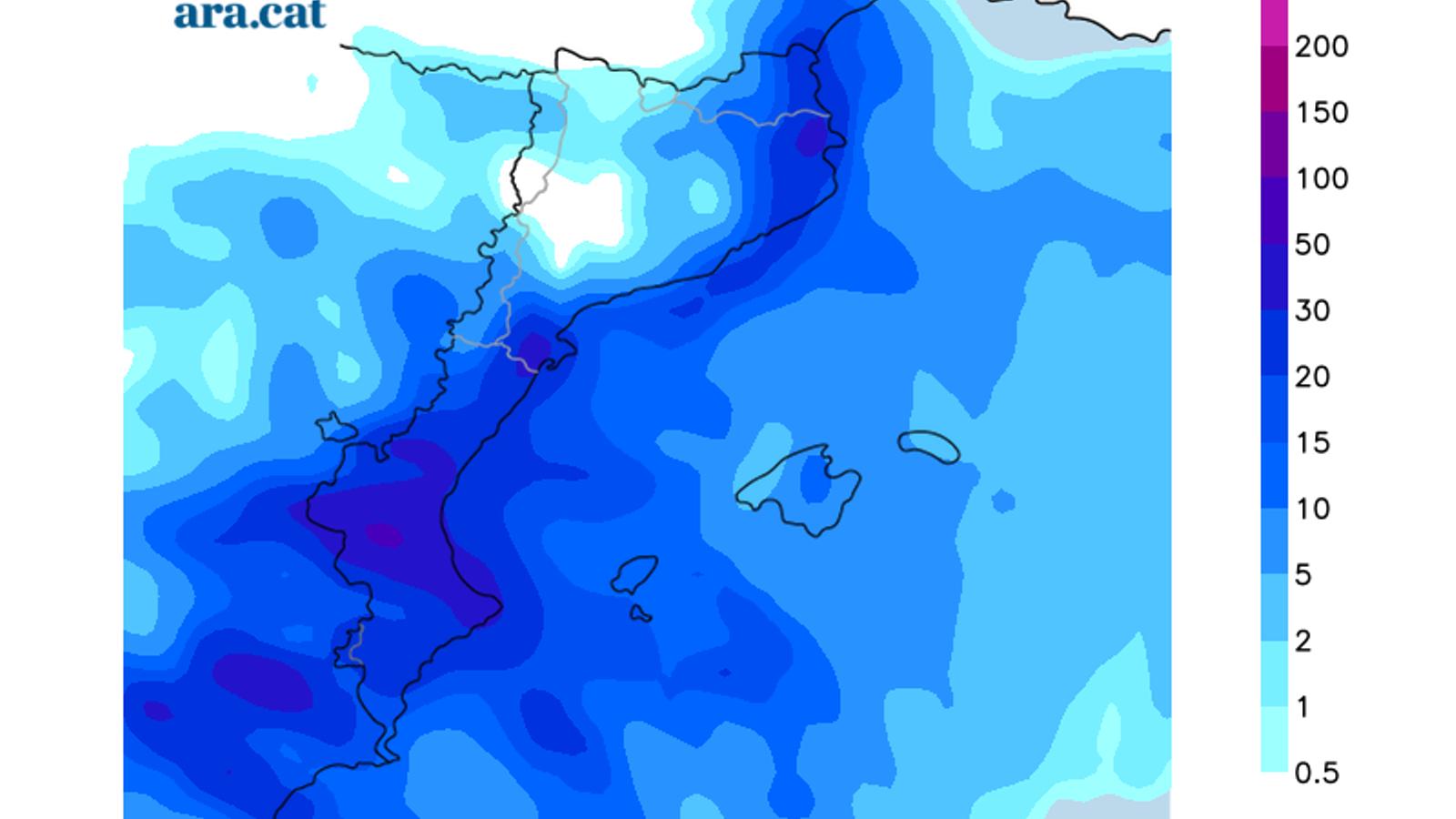 Acumulacions de precipitació previstes per demà
