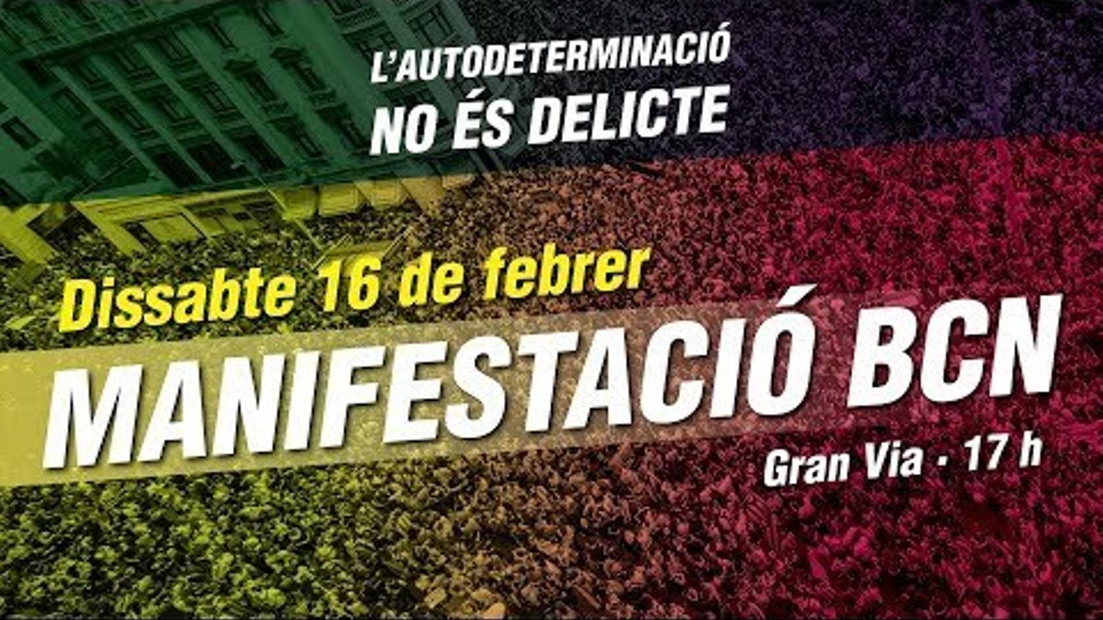"""EN DIRECTE: manifestació sobiranista amb el lema """"l'autodeterminació no és delicte"""""""