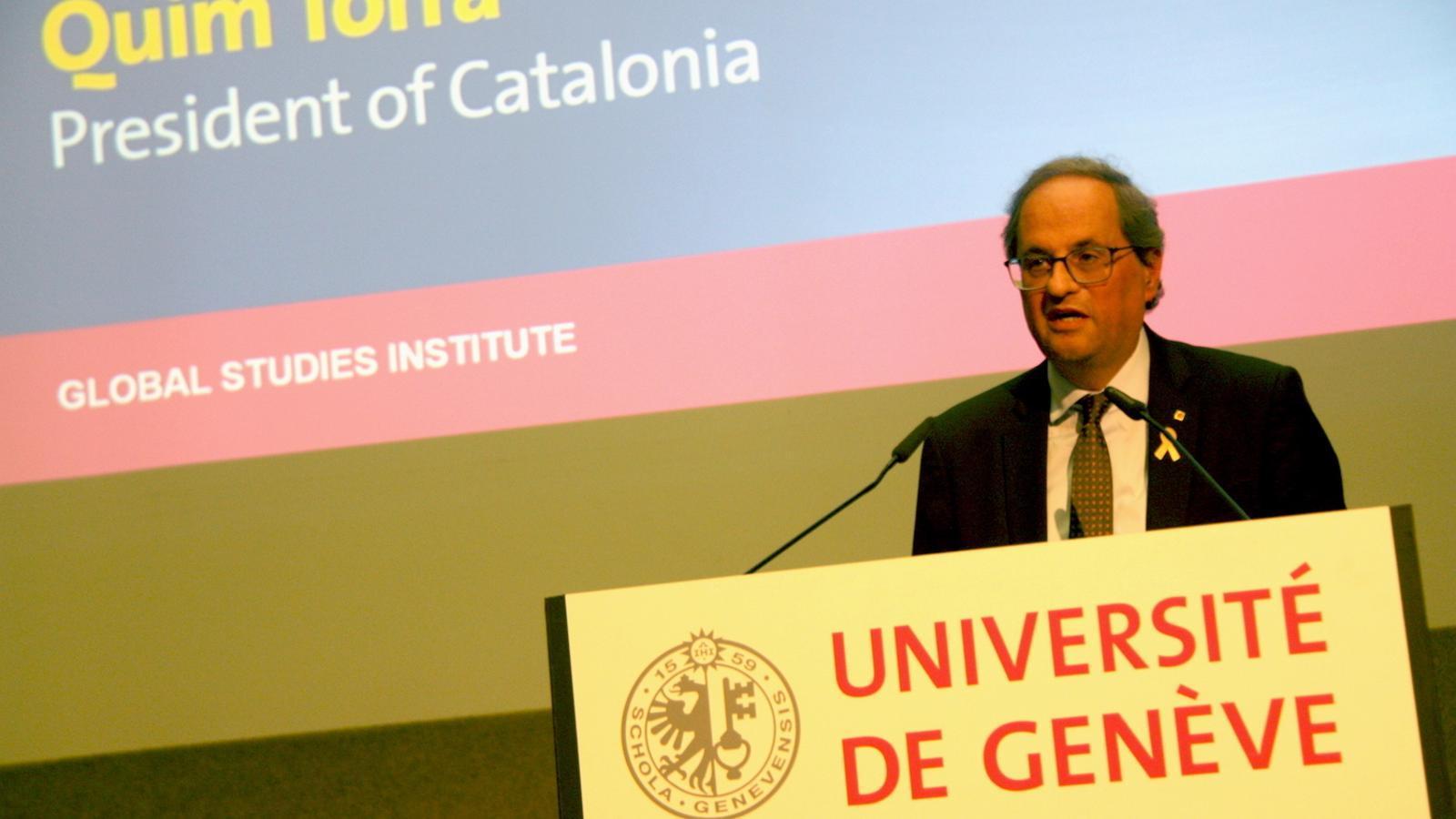 El president, aquest dimecres a la universitat de Ginebra