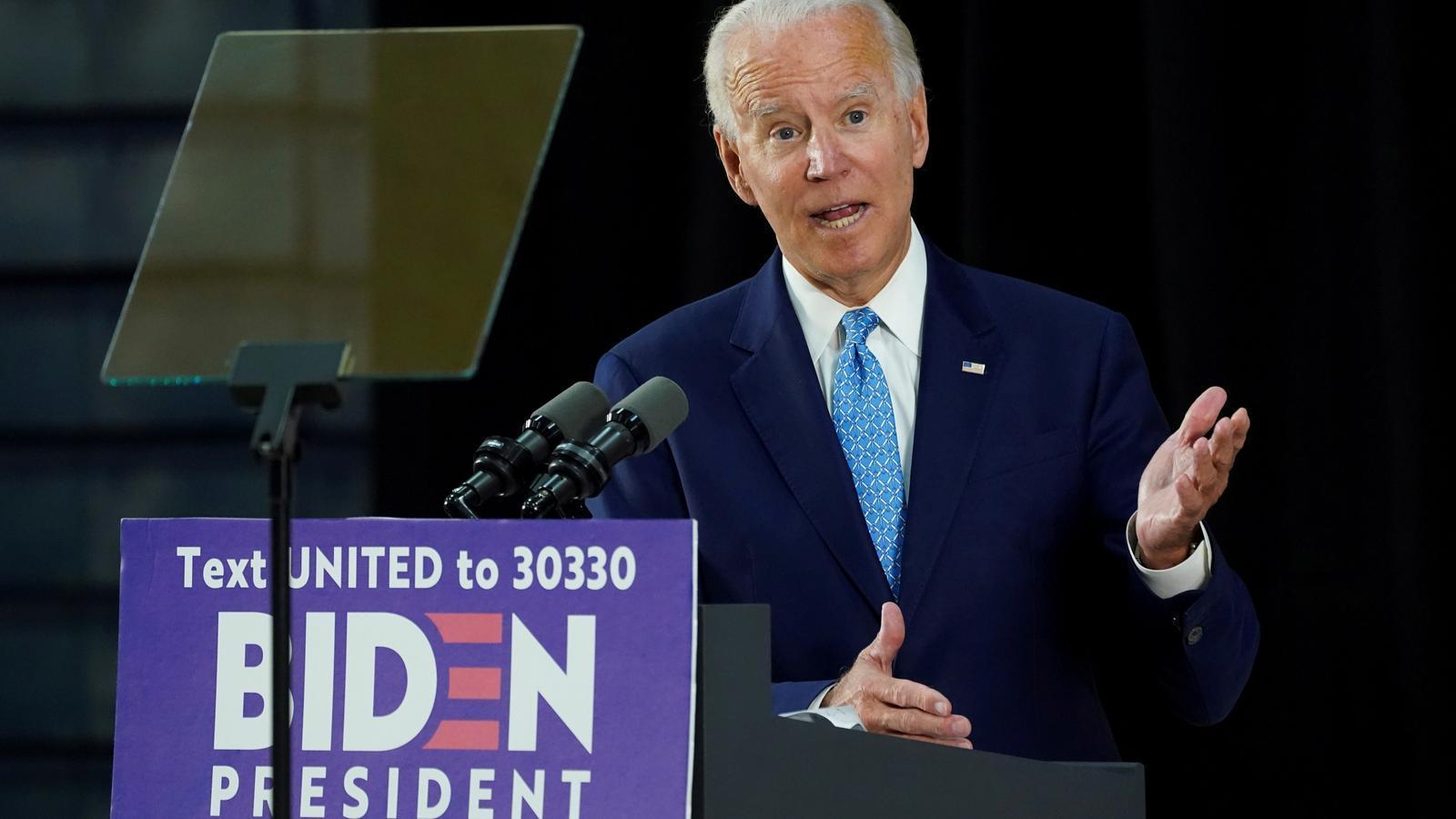 Roda de premsa de Joe Biden, candidat demòcrata a la presidència dels Estats Units, després de tres mesos de confinament.