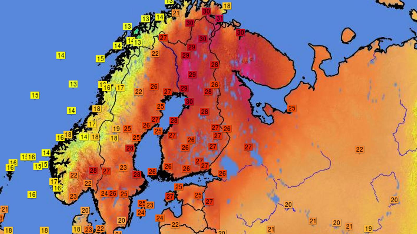 30 graus a tocar de l'Àrtic: Escandinàvia viu un juliol tòrrid