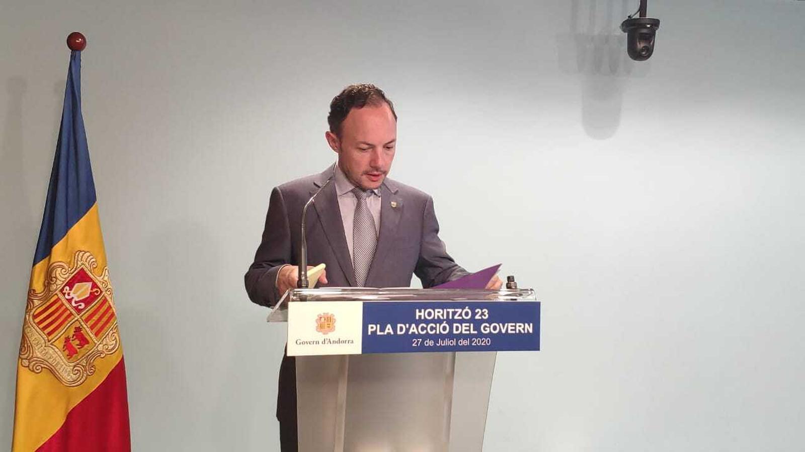 Xavier Espot, cap de Govern, durant la compareixença d'aquest dilluns