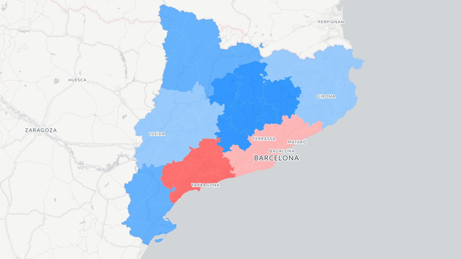 Més vots a la Catalunya Central i menys a Tarragona i Barcelona: mapes dels resultats de l'1-O al territori