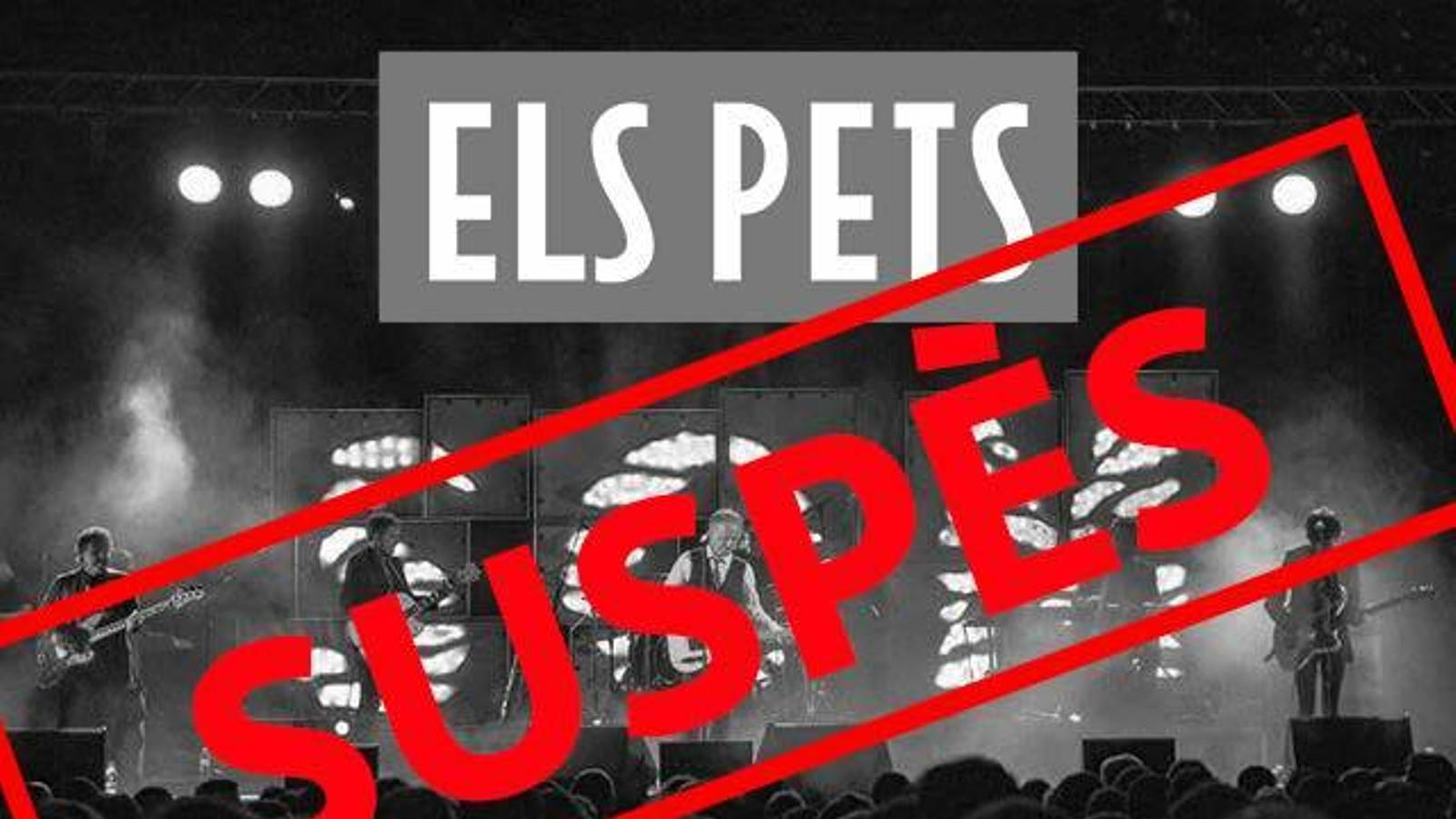 Imatge amb què Els Pets han anunciat que se suspenia el concert a Inca