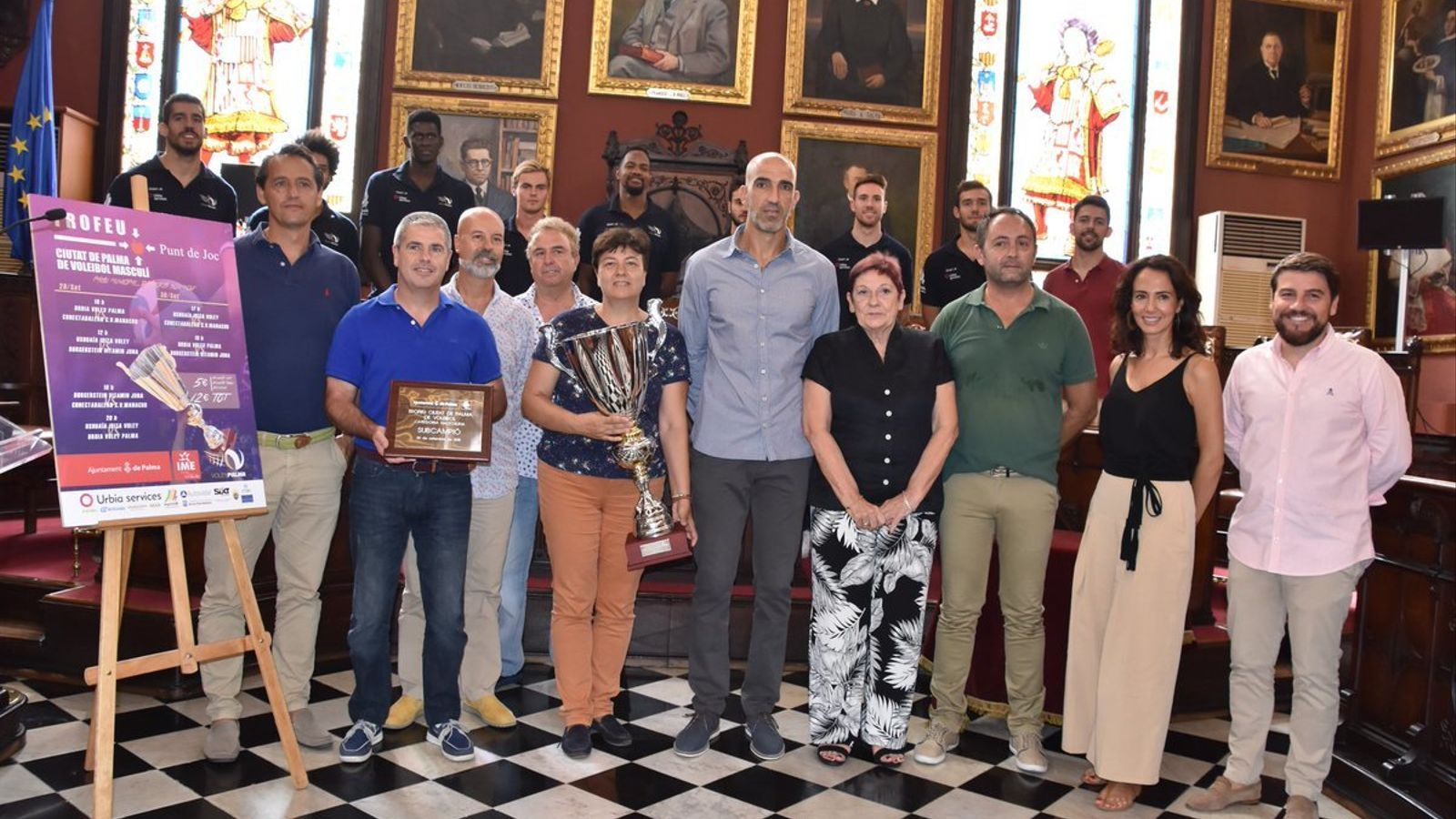 Moment de l'acte de presentació del Trofeu Ciutat de Palma de Voleibol.