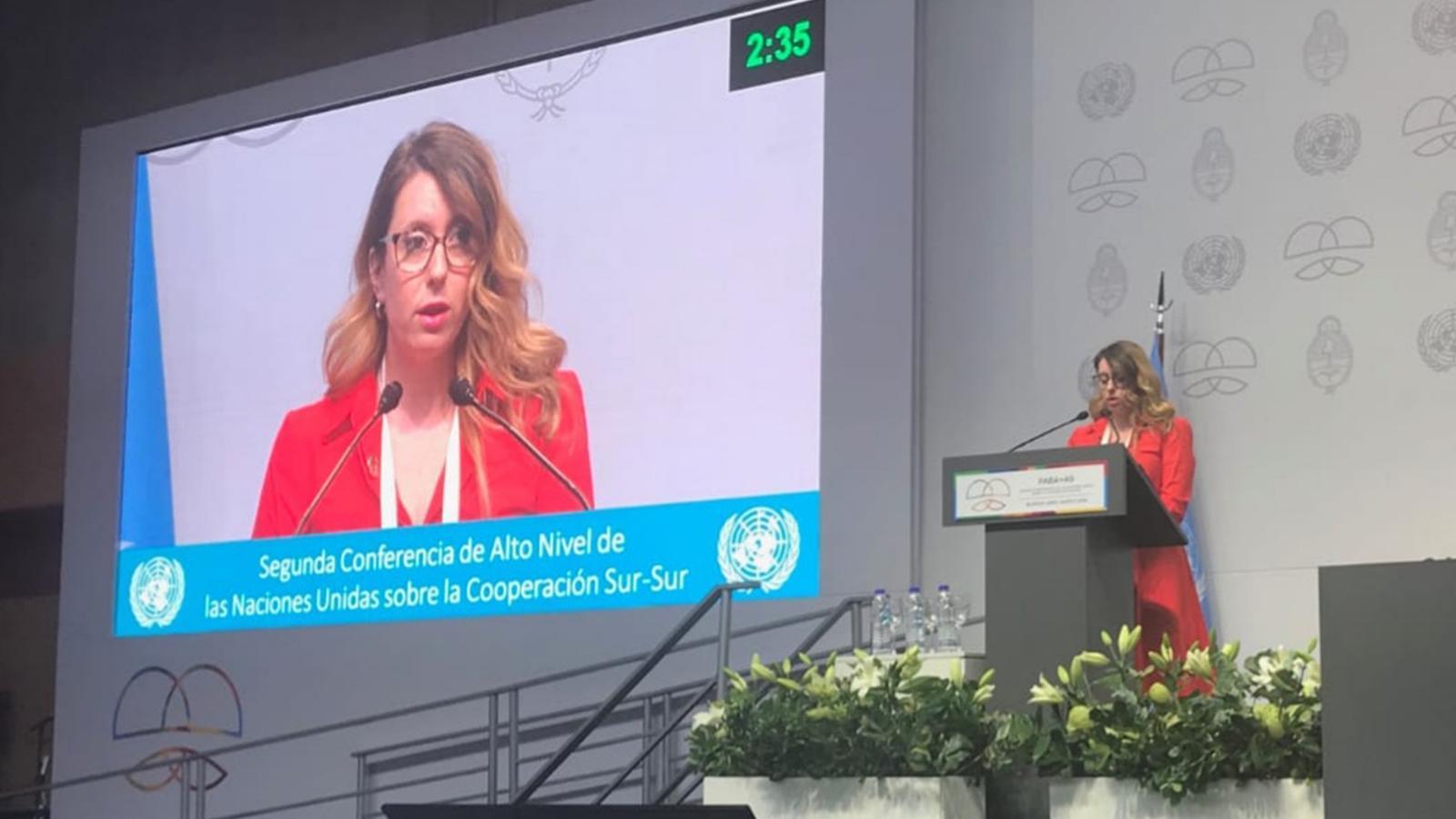 Gemma Cano, en la 2a Conferència d'Alt Nivell de les Nacions Unides sobre Cooperació Sud-Sud a Buenos Aires (Argentina). / SFG