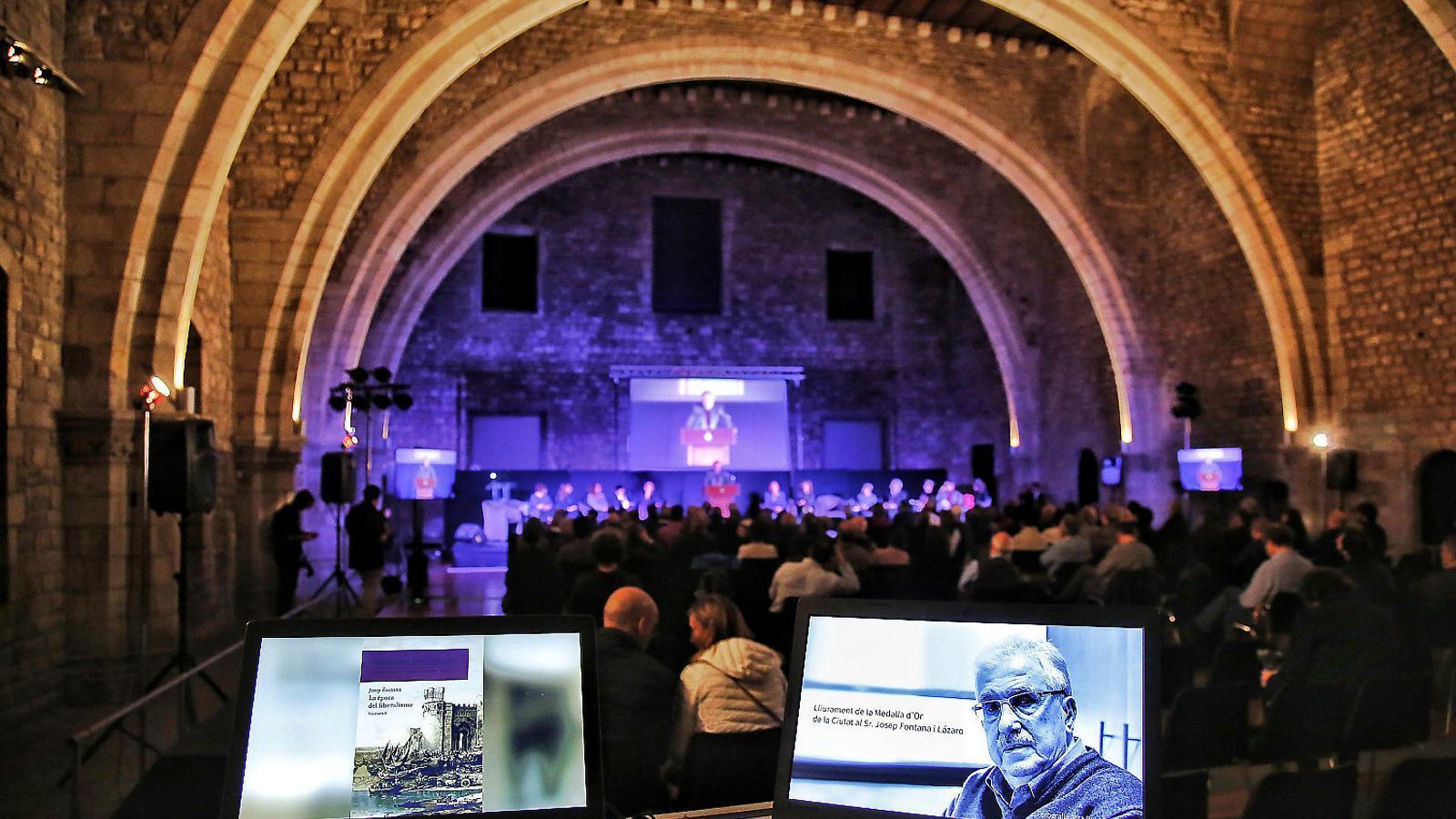 Josep Fontana, el protagonista absent ahir en l'homenatge que se li va fer al Tinell.