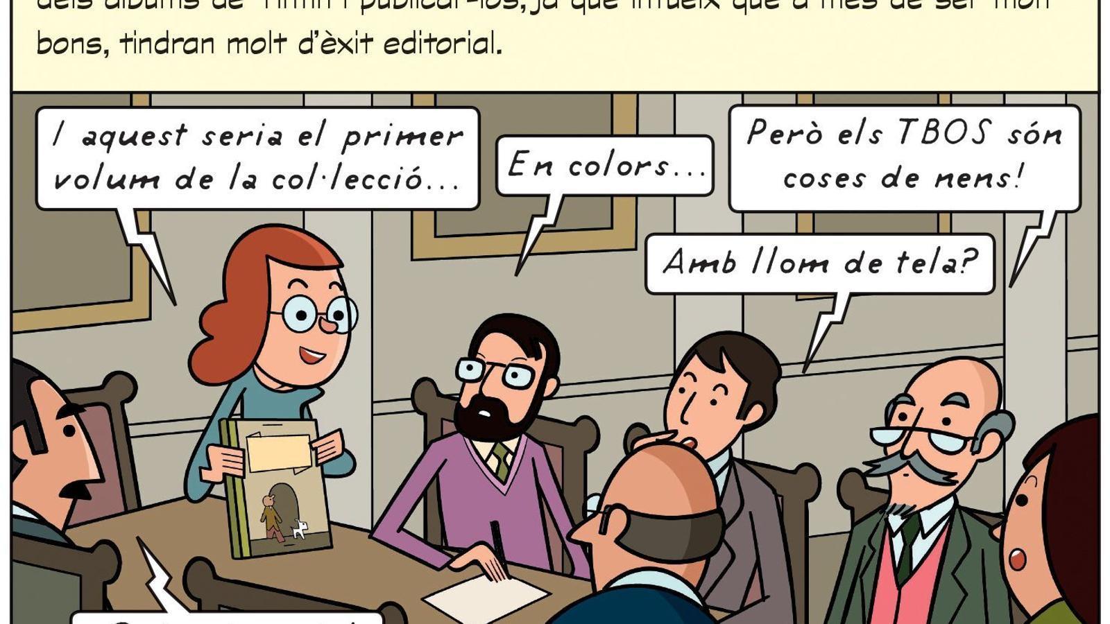 Vinyeta del còmic 'Com Tintín va arribar al nostre país'