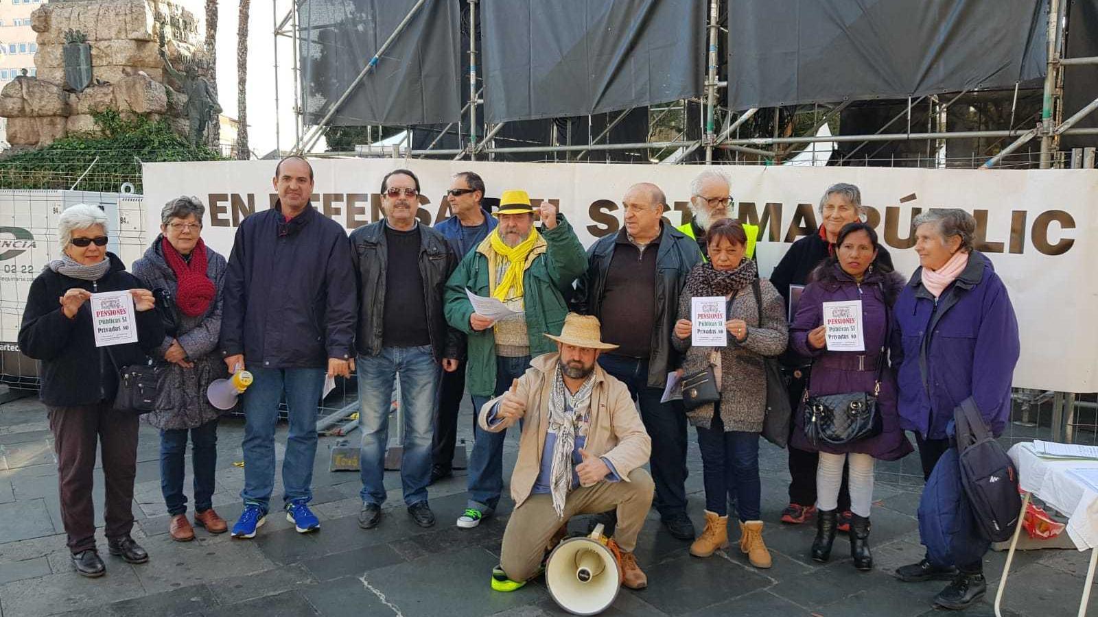 La protesta dels pensionistes s'ha dut a terme a la plaça d'Espanya