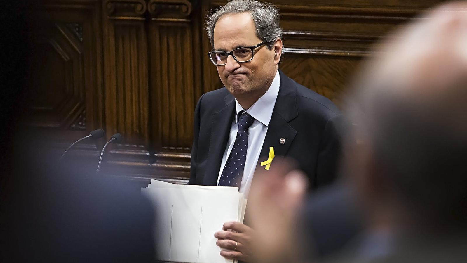 El candidat a la presidència de la Generalitat, Quim Torra, va preparar un discurs amb fins a 14 cites, sobretot de persones vinculades al món de la cultura.