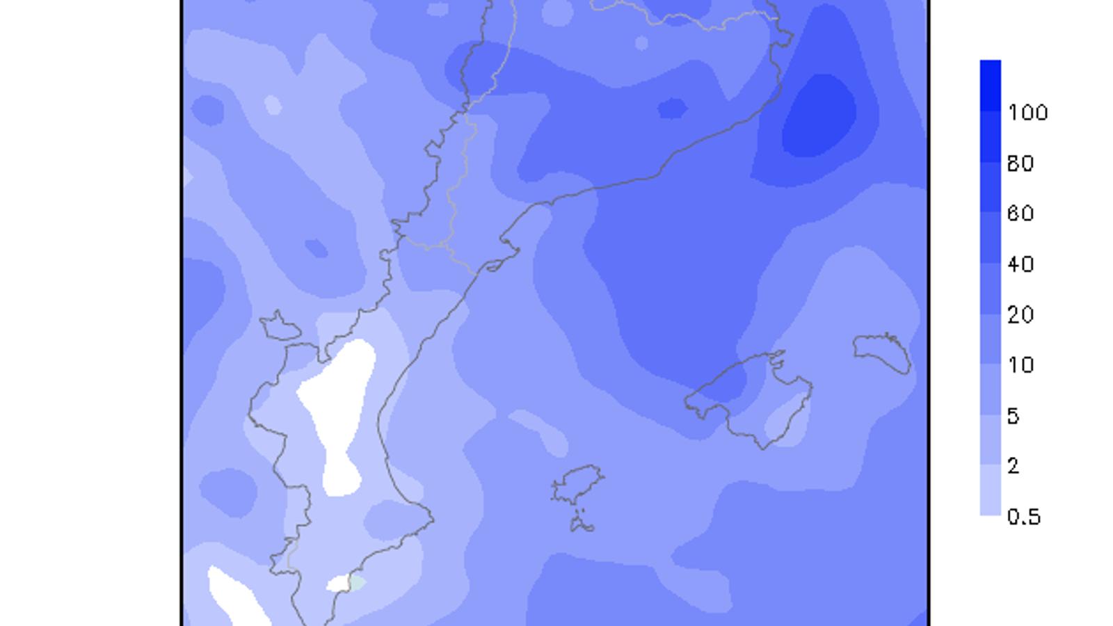 Acumulacions de precipitació previstes per aquest dissabte