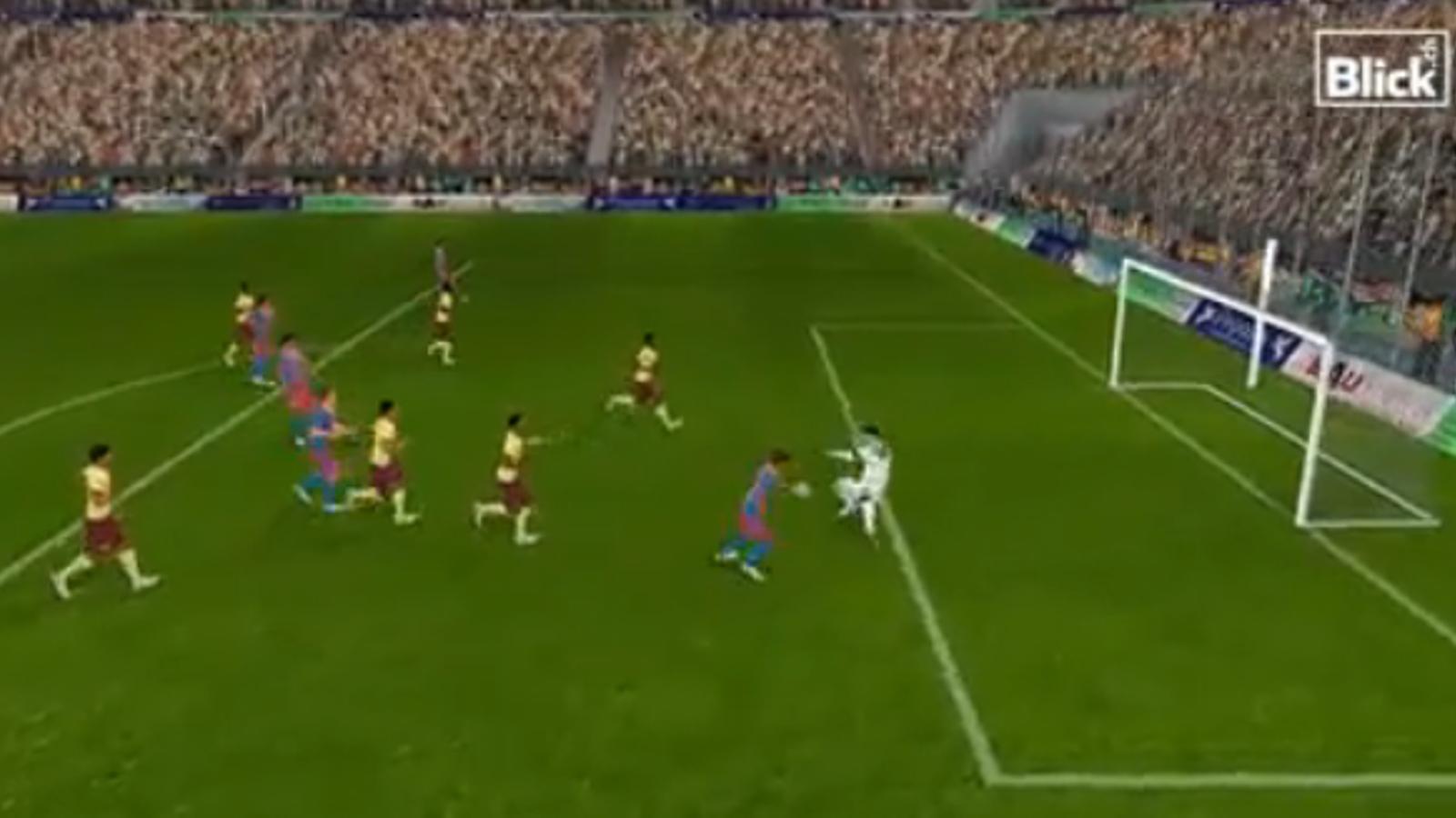 El gol de Messi a Almunia, en versió Playstation