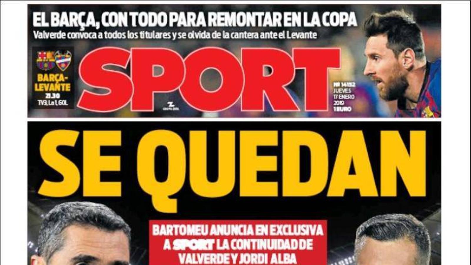 Portada 17 gener 2019 Sport