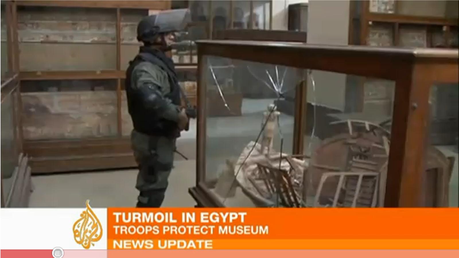 Imatges de les destrosses a l'interior del Museu del Caire