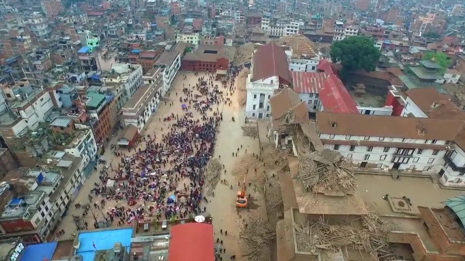 La destrucció al Nepal, a vista de 'drone'