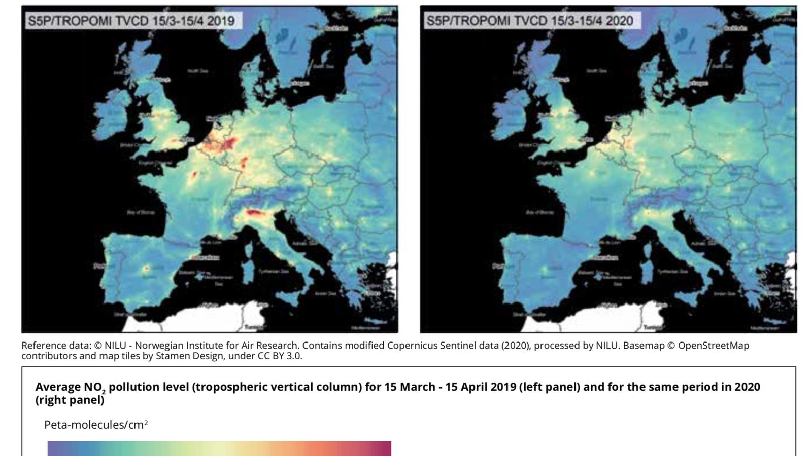 Nivells de pol·lucio a l'aire entre març i abril del 2019, i entre març i abril del 2020, durant el confinament.