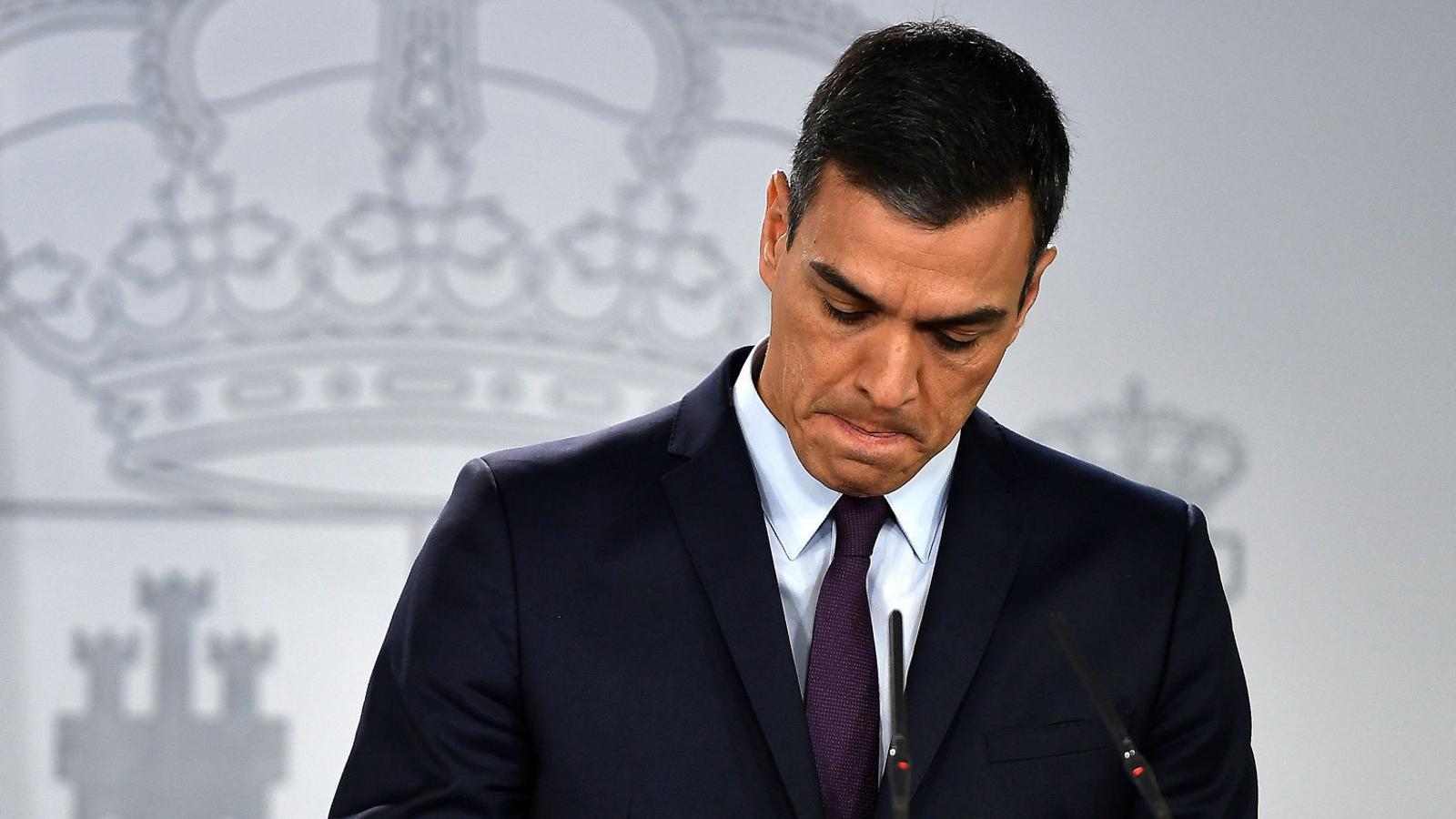 Pedro Sánchez durant la compareixença d'ahir a la Moncloa.