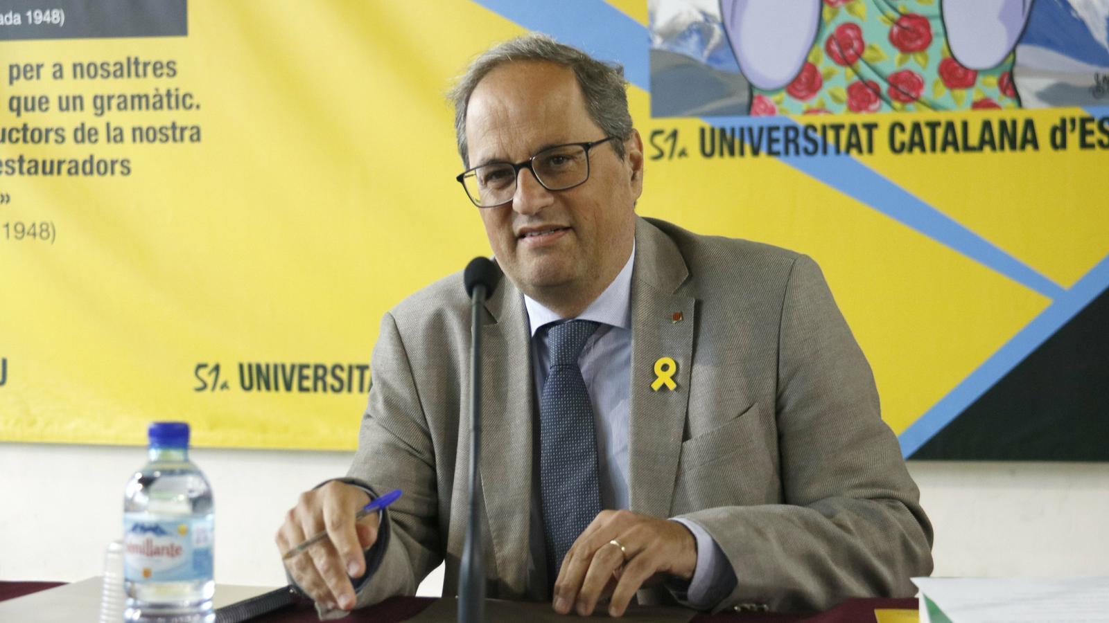 El president de la Generalitat, Quim Torra, durant la seva conferència a la Universitat Catalana d'Estiu (UCE) aquest dimarts