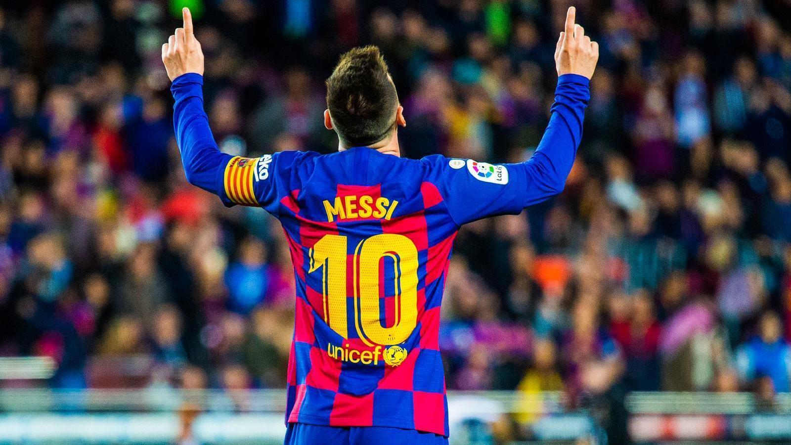 Leo Messi celebra un gol amb el Barça al Camp Nou