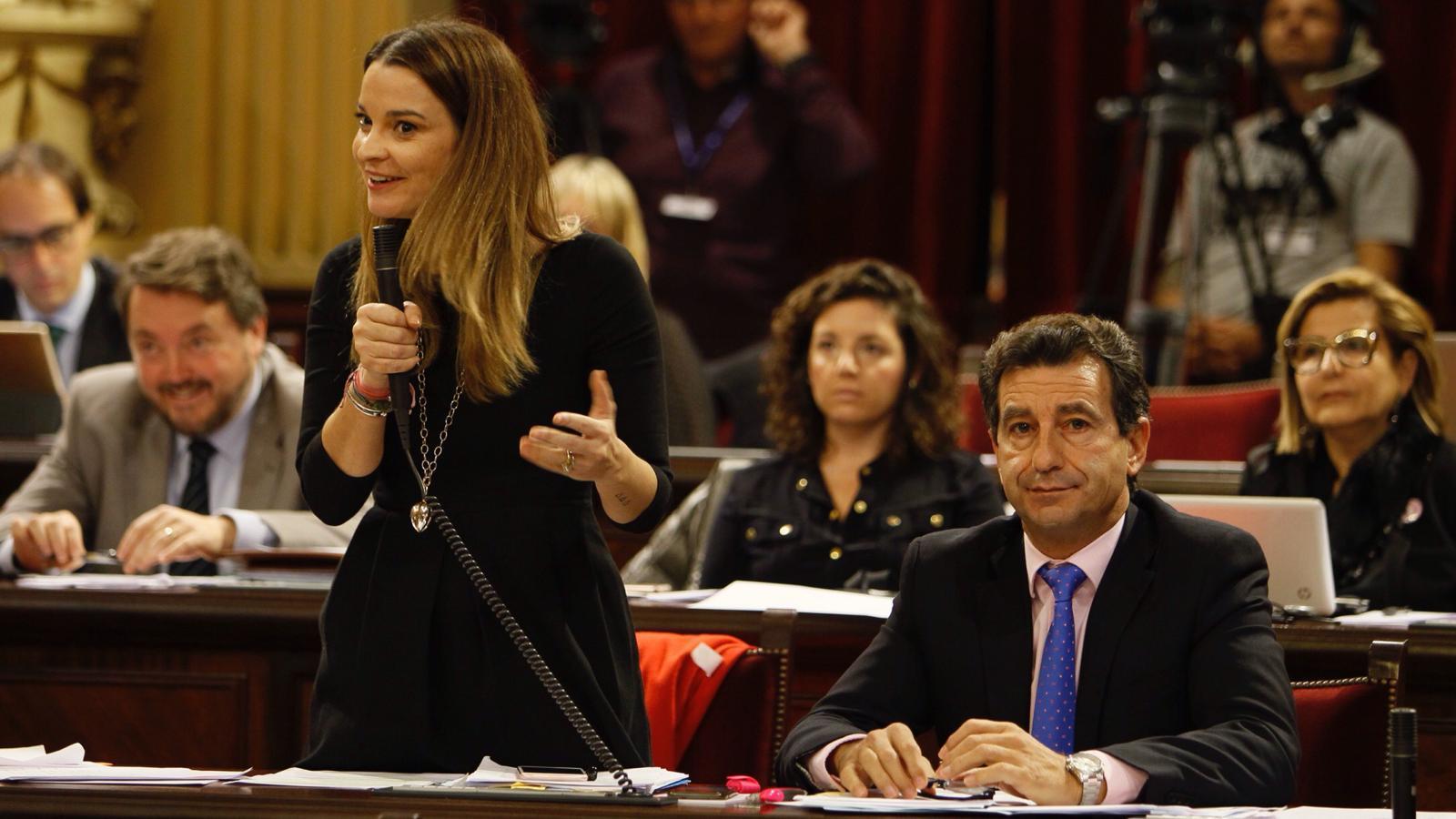 La portaveu parlamentària del PP, Marga Prohens, durant la sessió de control al Govern.