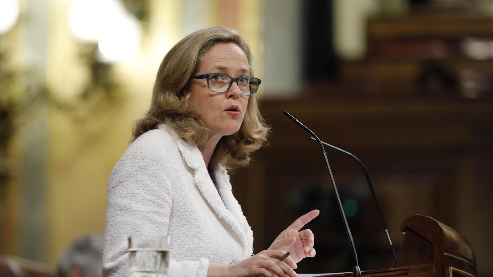 La ministra d'Economia, Nadia Calviño, aquest dimecres al Congrés.
