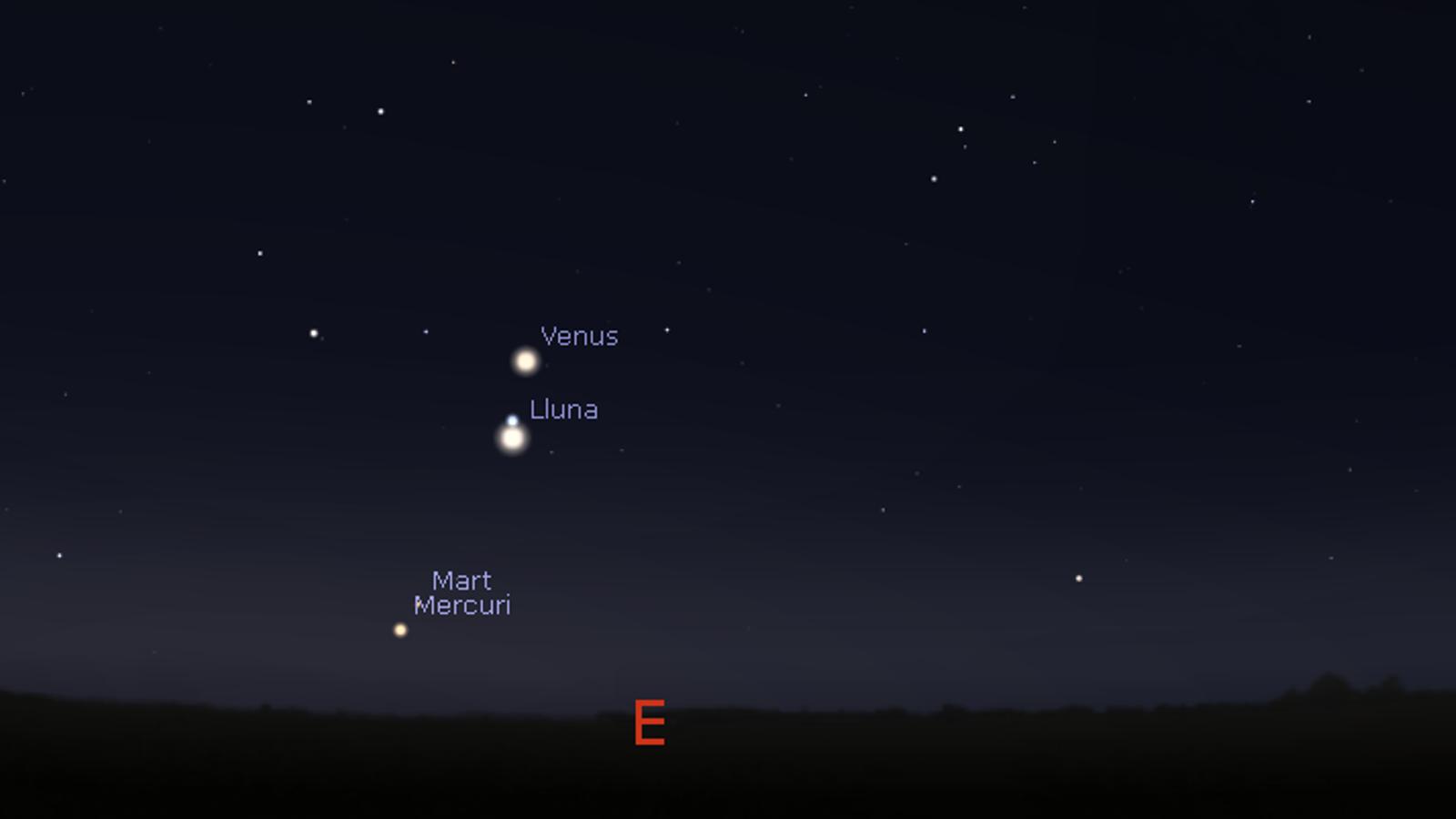 Cita astronòmica amb  Venus, la Lluna, Mart i Mercuri