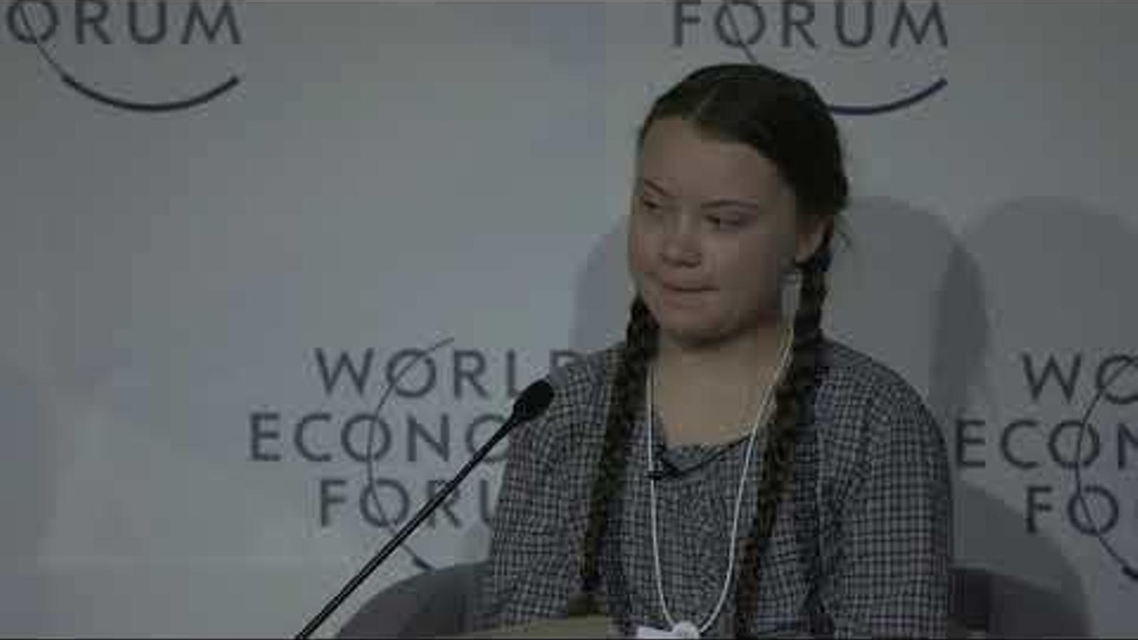 Greta Thunberg fa un discurs al Forum Econòmic Mundial de Davos