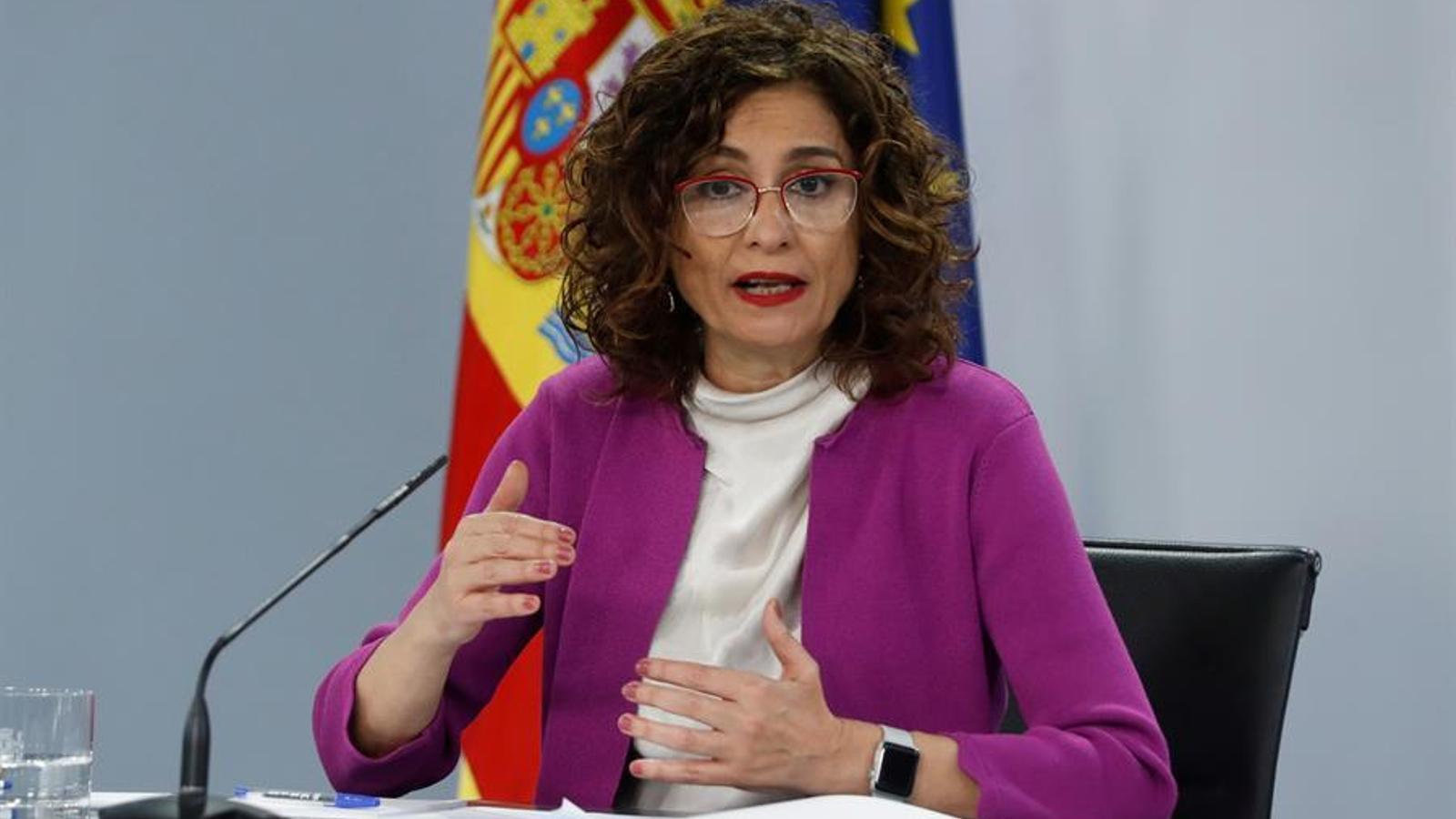 La portaveu del govern espanyol, María Jesús Montero, en roda de premsa posterior al consell de ministres